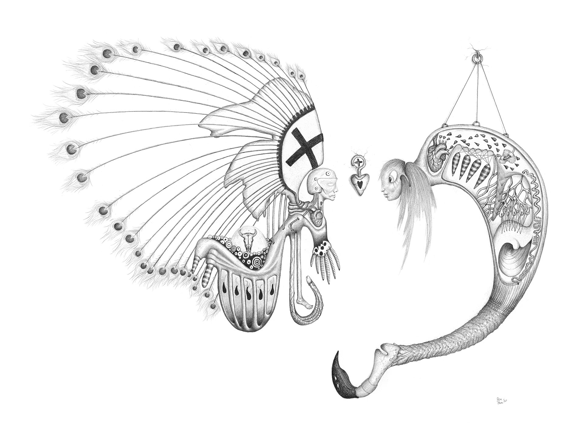 Fictional character with peacock feathers and bull skull