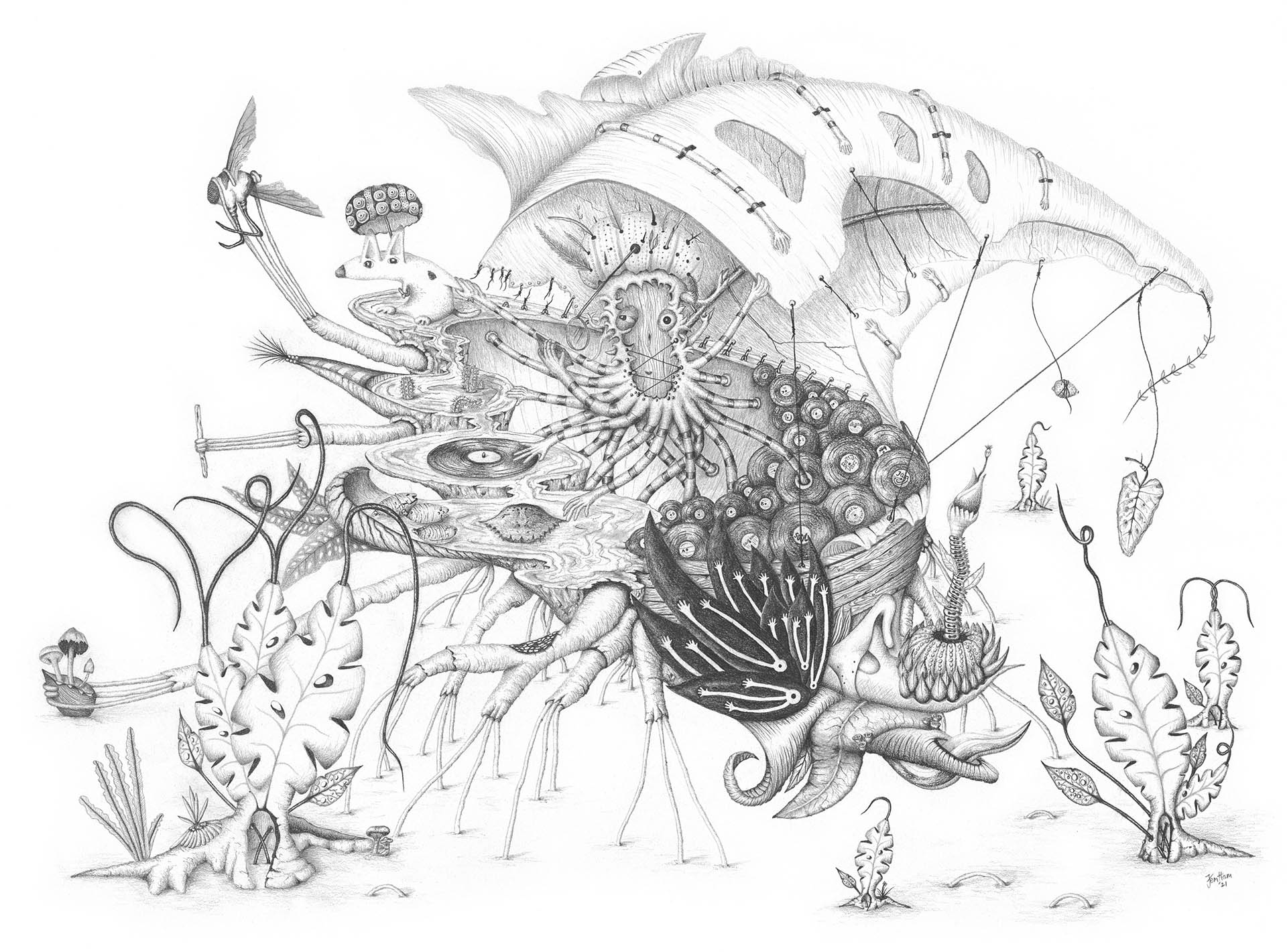 Fictional character sailing in fantasy leaf boat pencil drawing