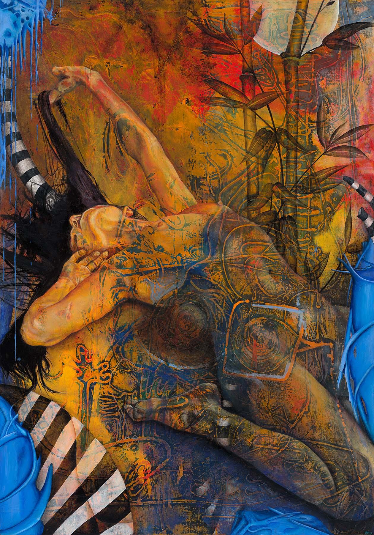 Figurative acrylic painting of nude woman